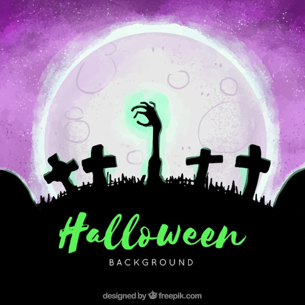 Watercolor background with a zombie hand at a cemetery Free Vector