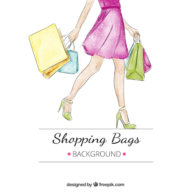 Watercolor background of woman with several shopping bags Free Vector