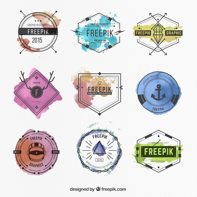 Watercolor badges collection Premium Vector