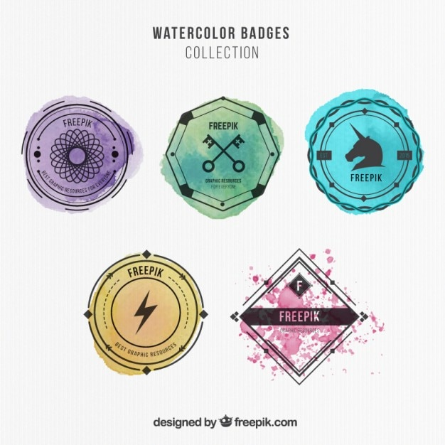 Watercolor badges collection Free Vector