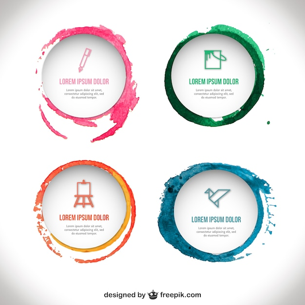 watercolor badges template vector free download
