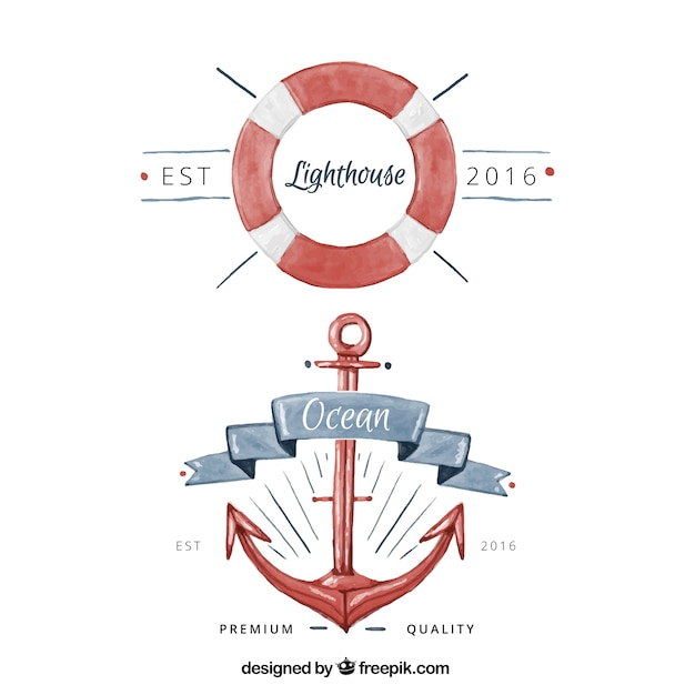 Watercolor badges with nautical items Free Vector
