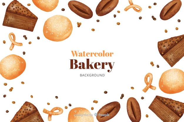 Watercolor bakery background Free Vector