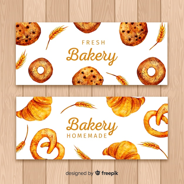 Watercolor bakery banners Free Vector