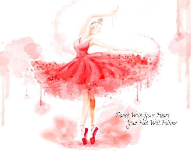 水彩バレエダンサー、白い背景の水彩ペイントストロークで魅力的なダンサー Premiumベクター