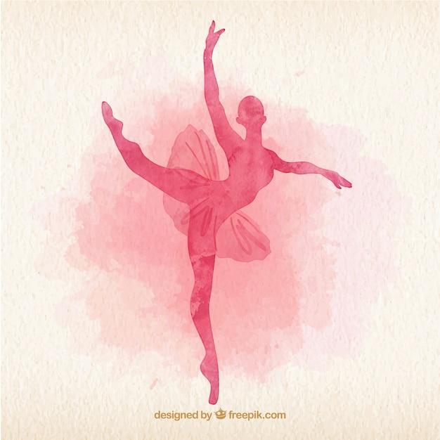 Watercolor ballet dancer silhoutte Free Vector