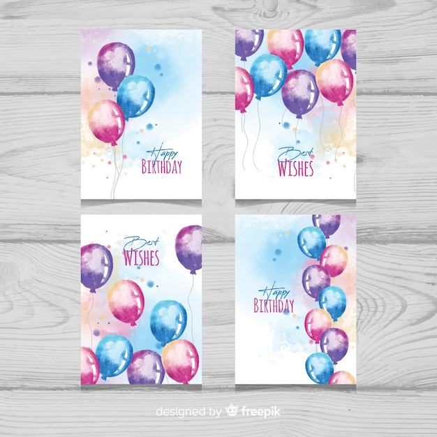 Watercolor balloons birthday card collection Free Vector