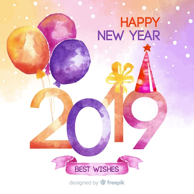 Watercolor balloons new year background Free Vector