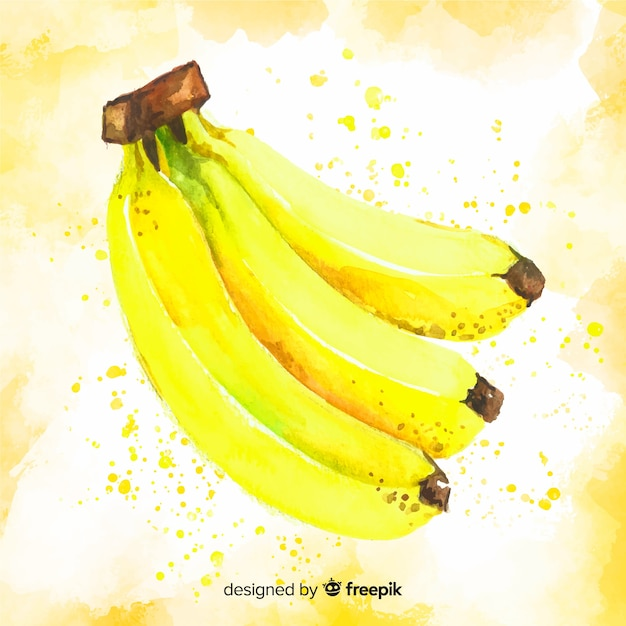 Watercolor banana background Free Vector