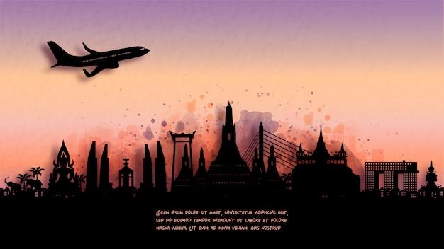 Watercolor of bangkok, thailand  silhouette skyline and famous landmark. Premium Vector