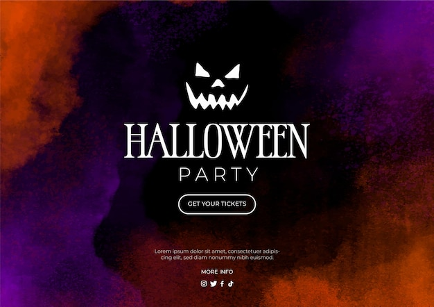 Watercolor banner for halloween party Free Vector