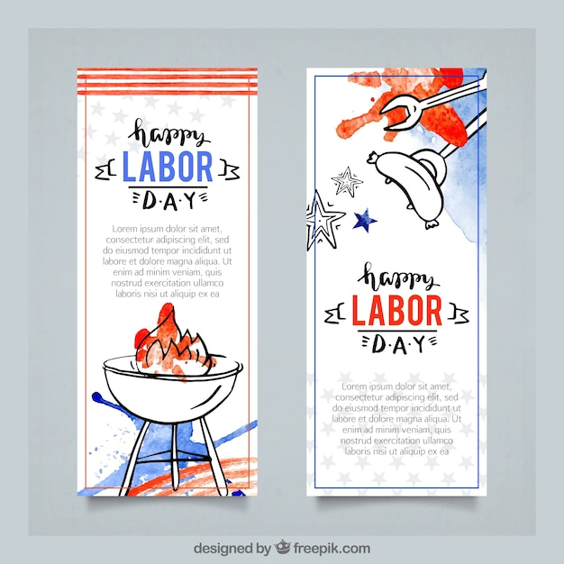 Watercolor banners celebration of labor day