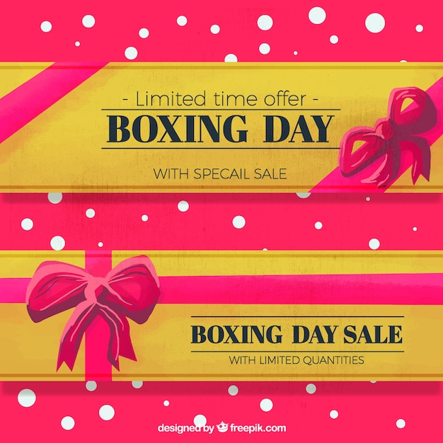 Watercolor banners for boxing day with purple\ ribbon