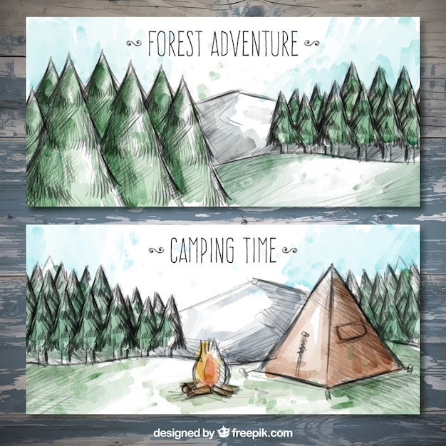Watercolor banners of camping in a pine\ forest