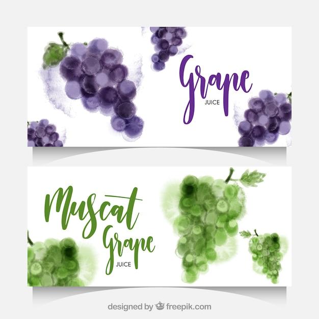 Акварельные баннеры с виноградом Бесплатные векторы