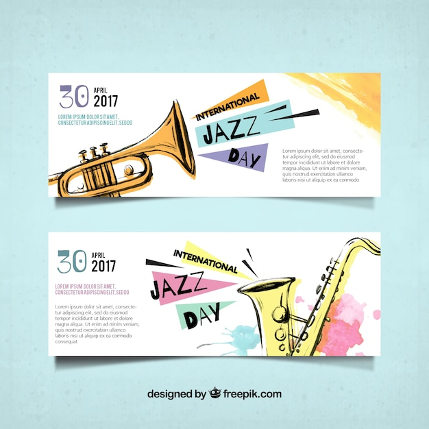 Watercolor banners of the international jazz day