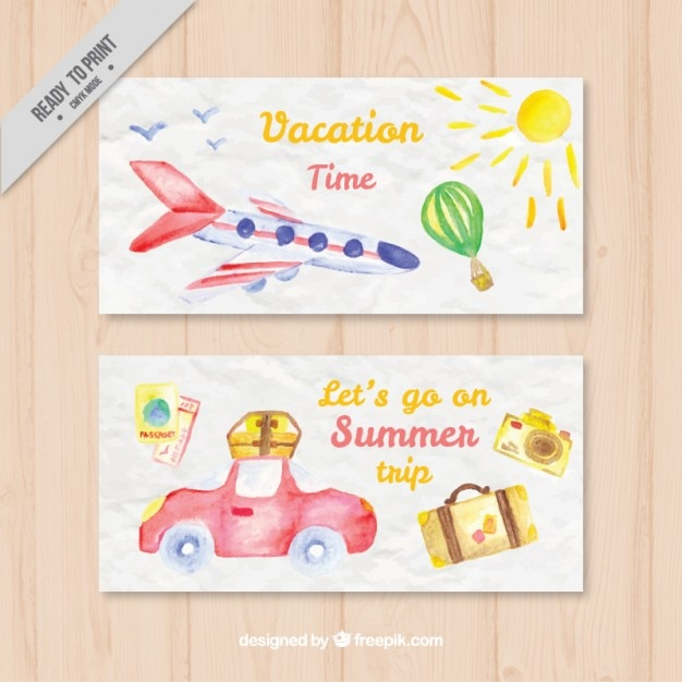 Watercolor banners of vacation time