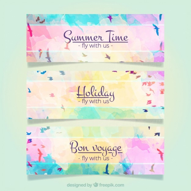 Watercolor banners with birds
