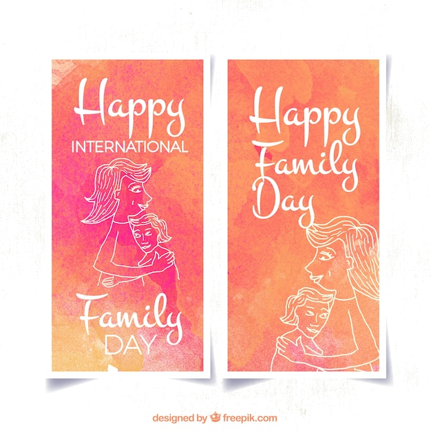 Watercolor banners with family drawings
