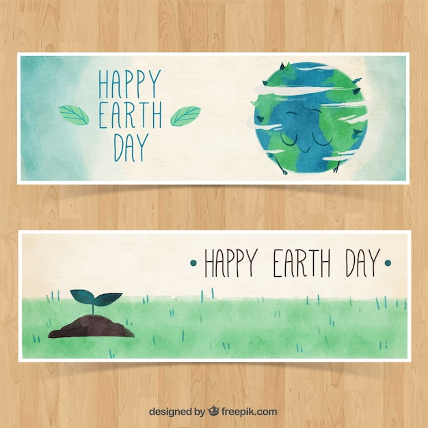 Watercolor banners with illustrations for earth\ day