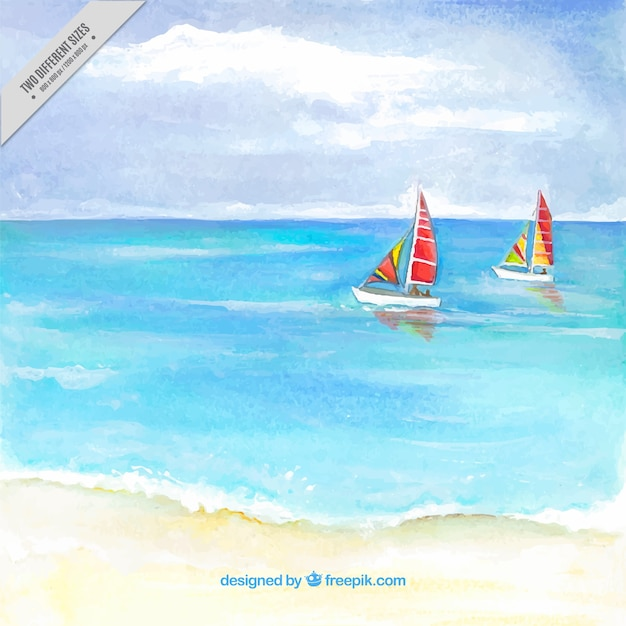 Watercolor beach background with two\ boats