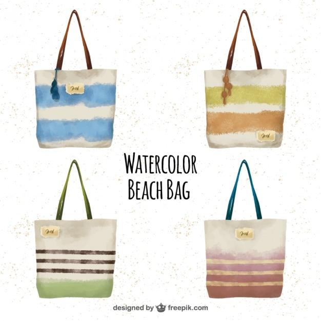 Watercolor beach bag set Vector | Free Download