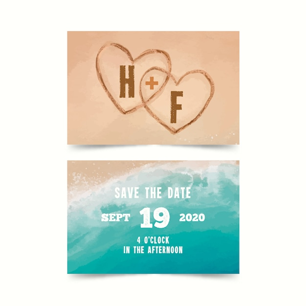 Watercolor beach save the date card Premium Vector