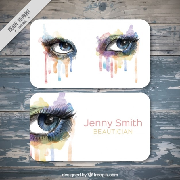 Watercolor beautician business card Free Vector