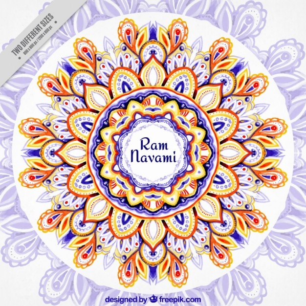 Watercolor beautiful floral Ram Navami\ background
