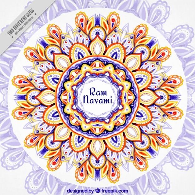 Watercolor beautiful floral Ram Navami\ background