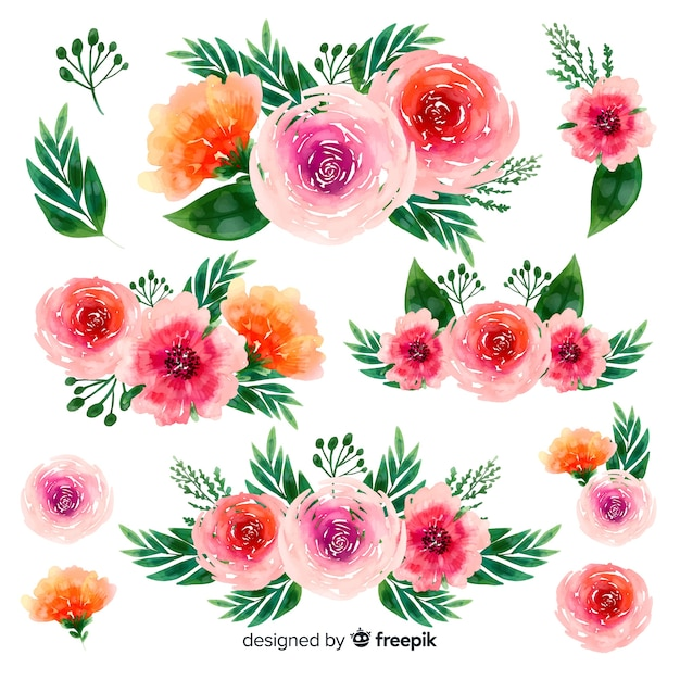 Watercolor beautiful flowers bouquet background Free Vector