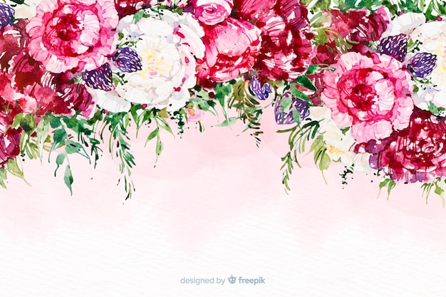 Watercolor beautiful flowers colorful background Vector