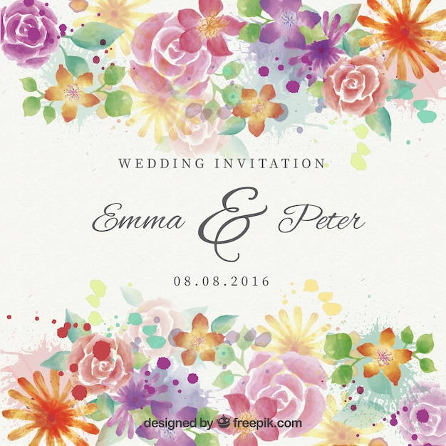 Watercolor beautiful flowers wedding invitation vector free download watercolor beautiful flowers wedding invitation free vector stopboris Image collections