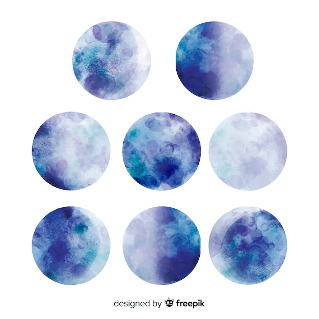 Watercolor beautiful full moon collection Free Vector