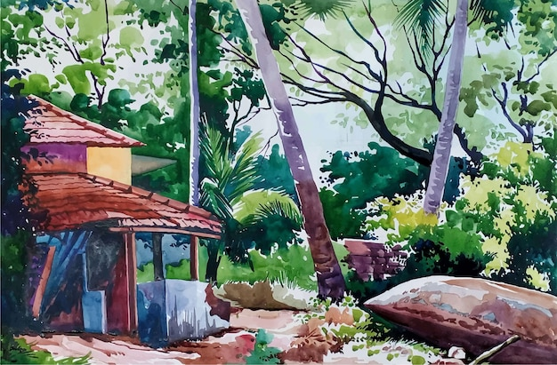 Watercolor beautiful landscape view hand drawn illustration Premium Vector