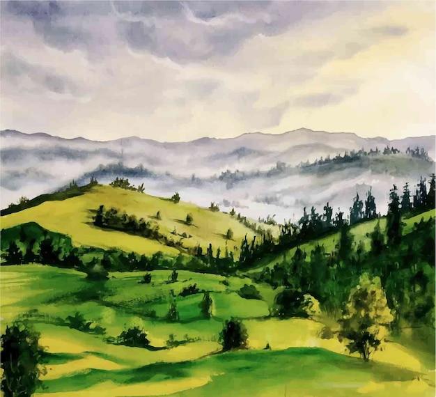 수채화 아름다운 산 풍경보기 그림 프리미엄 벡터