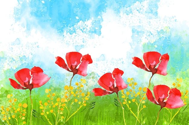 Watercolor beautiful spring landscape Free Vector