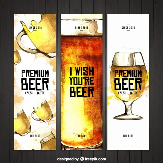 watercolor beer banners vector free download