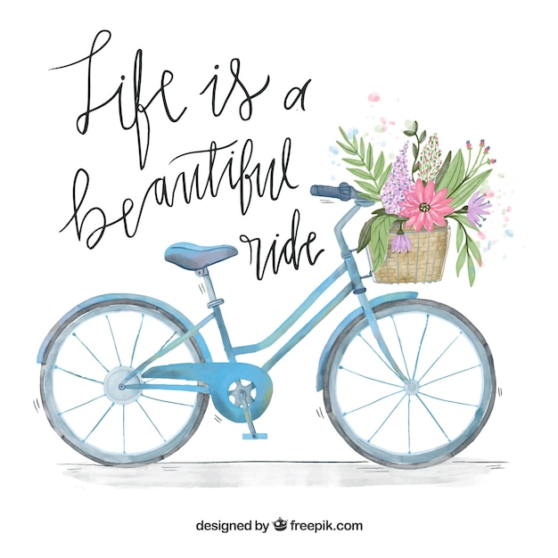 Watercolor bicycle background with basket and\ message