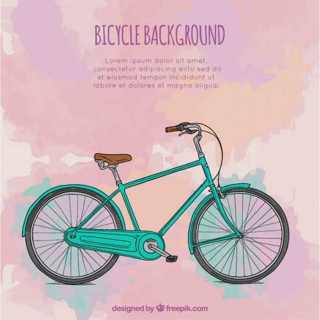 Watercolor bicycle background
