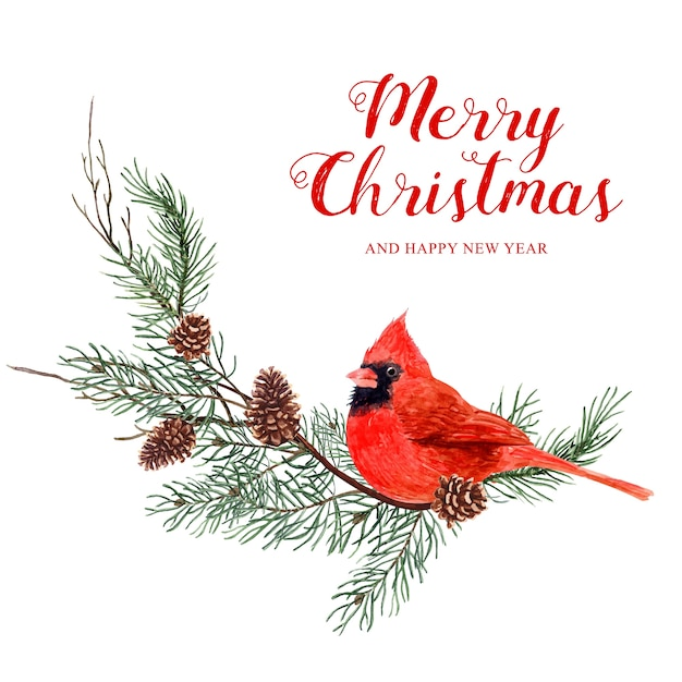 Watercolor bird christmas with pine tree and pine cone. Premium Vector
