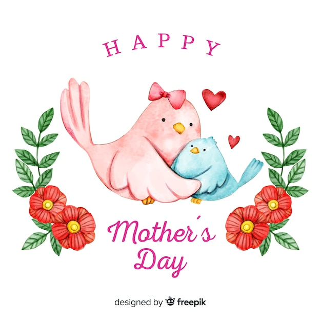 Watercolor birds mother's day background Free Vector
