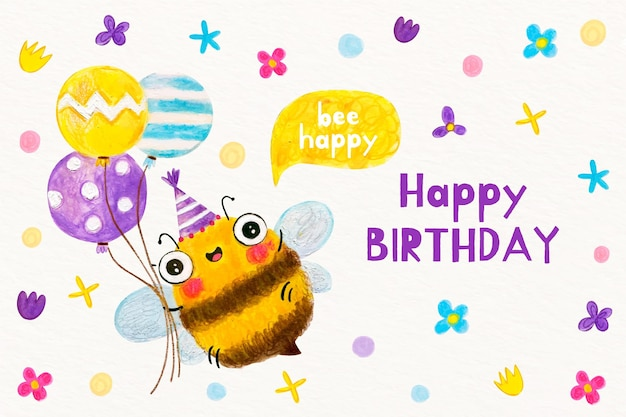 Watercolor birthday background with bee Free Vector