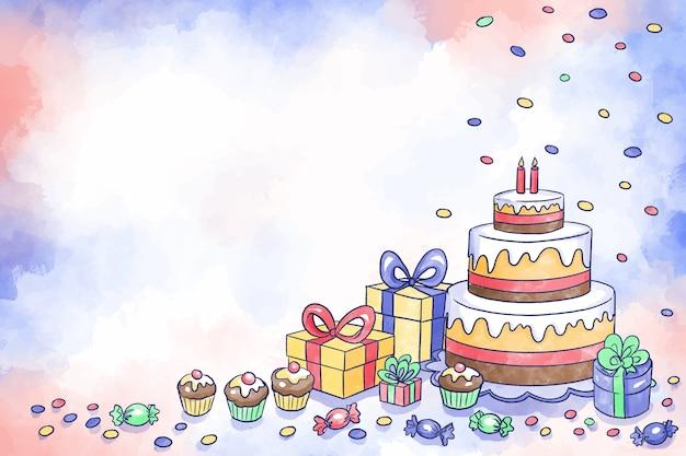 Watercolor birthday background Premium Vector