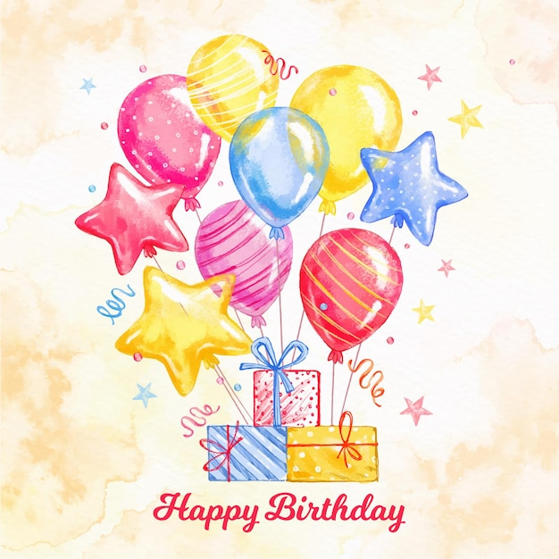 Watercolor birthday background Free Vector