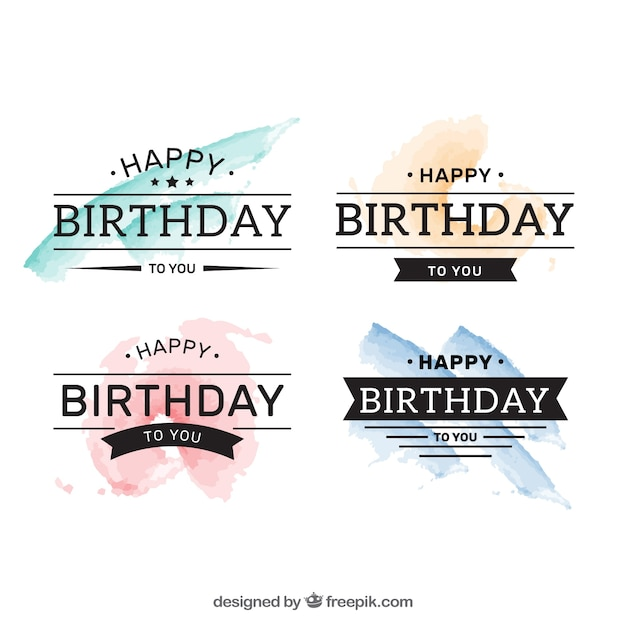 Watercolor birthday badges pack