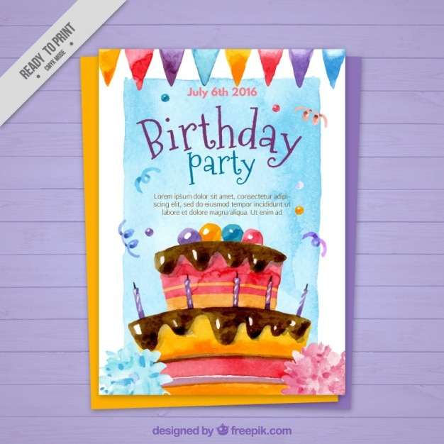 Watercolor birthday cake card