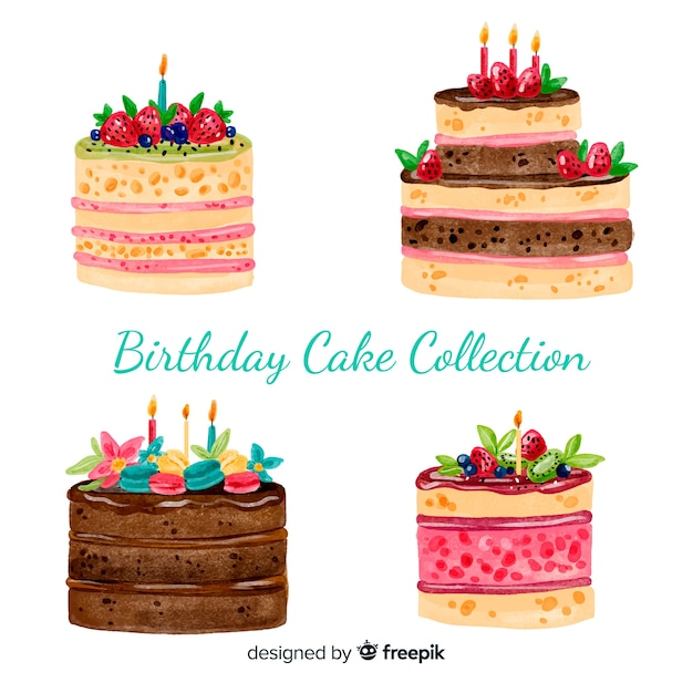 Watercolor birthday cake collection Premium Vector