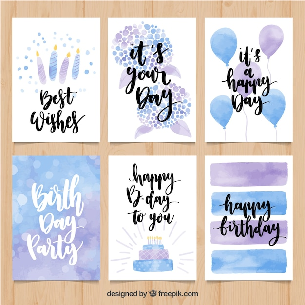 watercolor birthday card pack free vector - Birthday Card Packs