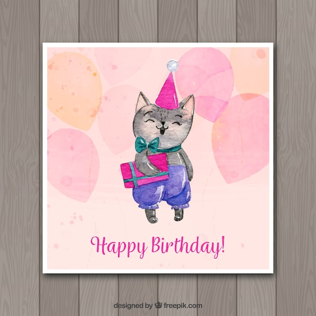 Watercolor birthday card with cute cat vector free download watercolor birthday card with cute cat free vector bookmarktalkfo Choice Image